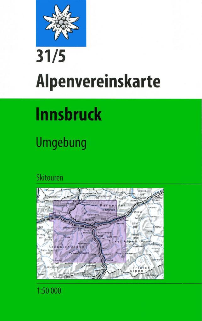 DAV Alpenvereinskarte 31/5 Innsbruck und Umgebung 1 : 50 000 Skirouten als Buch