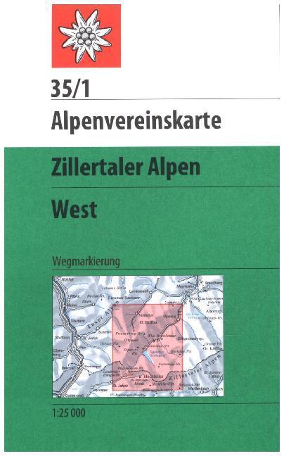 DAV Alpenvereinskarte 35/1 Zillertaler Alpen West 1 : 25 000 Wegmarkierungen als Buch