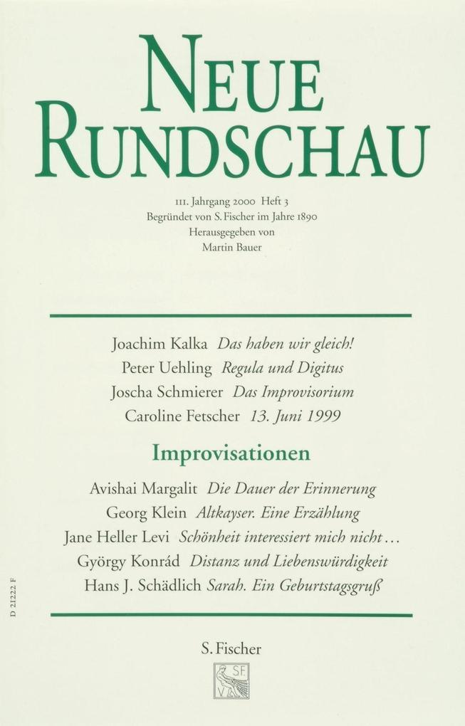 Neue Rundschau 2000/3 als Buch