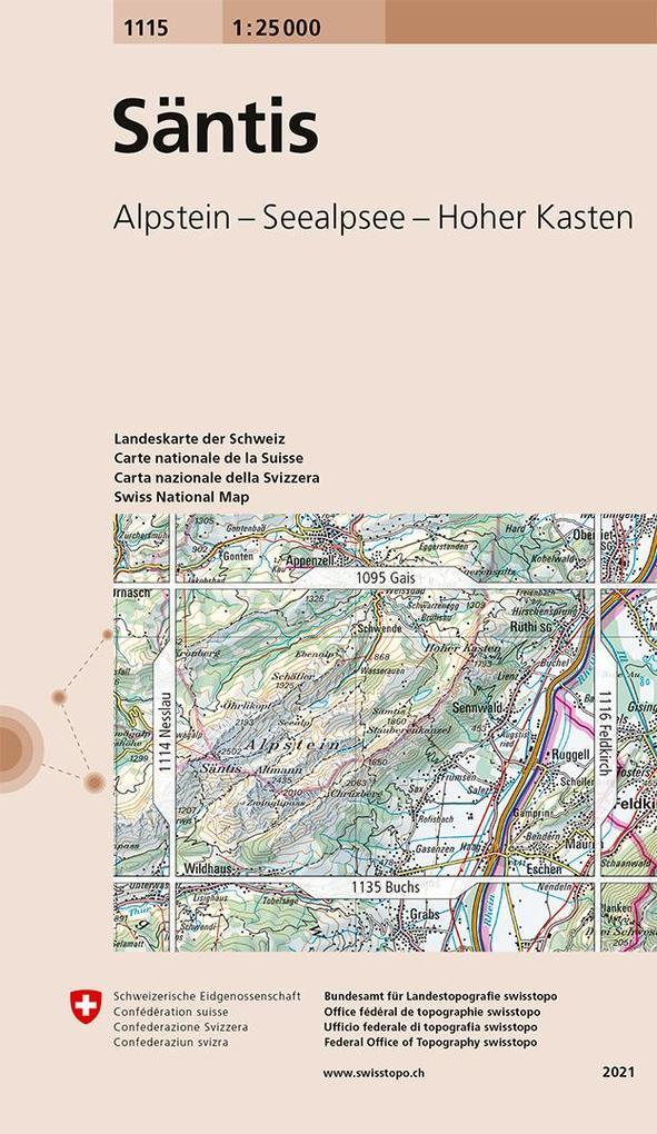 Swisstopo 1 : 25 000 Säntis als Buch