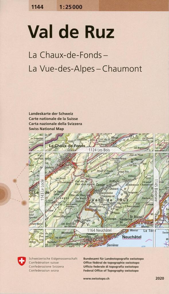 Swisstopo 1 : 25 000 Val de Ruz als Buch