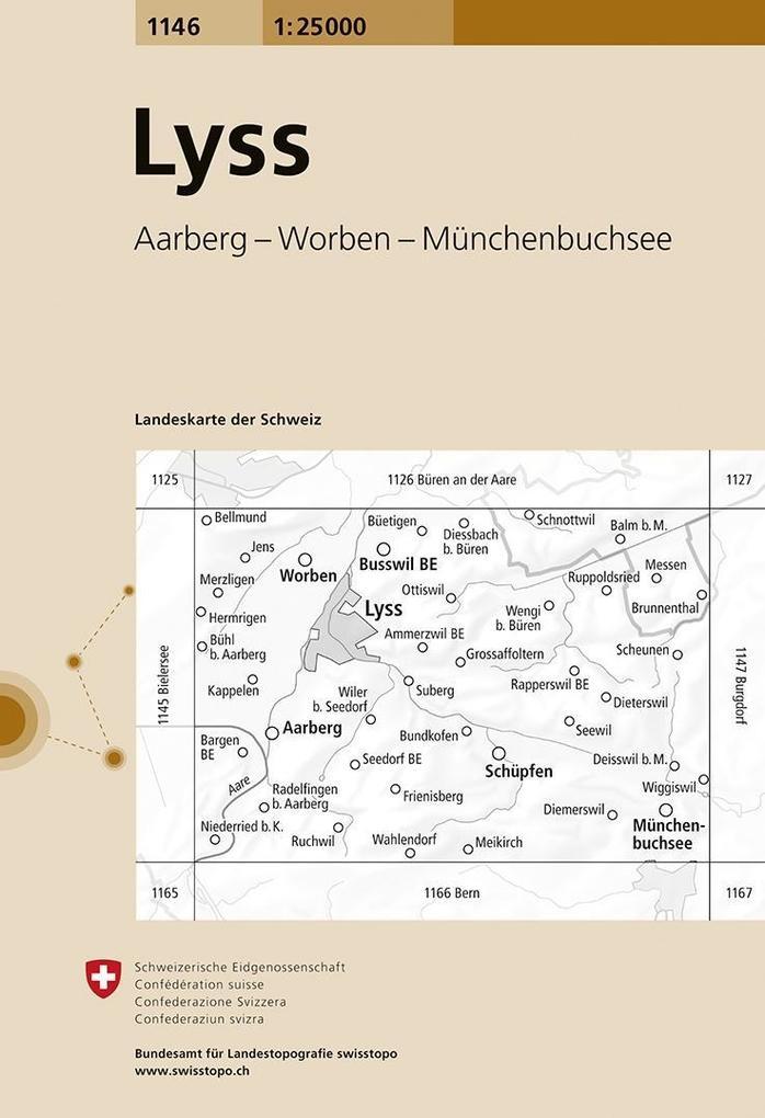 Swisstopo 1 : 25 000 Lyss als Buch