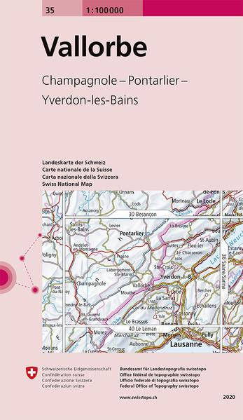 Swisstopo 1 : 100 000 Vallorbe als Buch