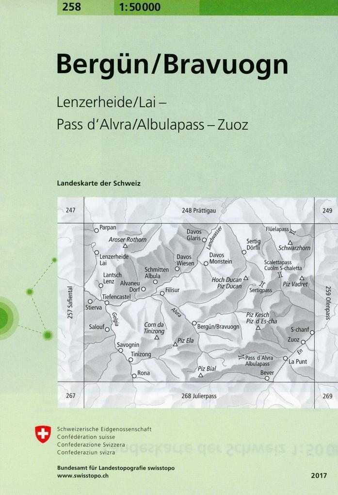 Swisstopo 1 : 50 000 Berguen/Bravuogn als Buch