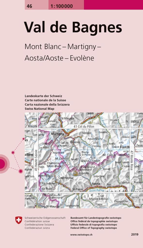 Swisstopo 1 : 100 000 Val de Bagnes als Buch