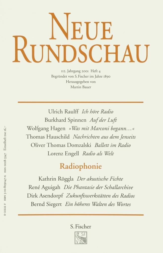 Neue Rundschau 2001/4 als Buch