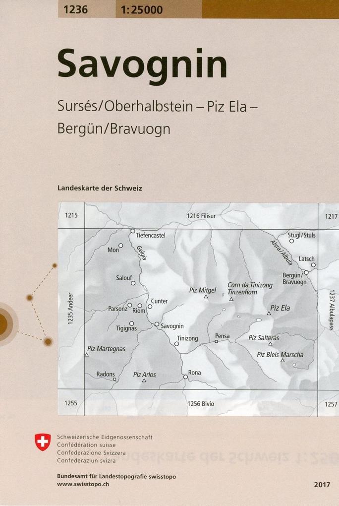 Swisstopo 1 : 25 000 Savognin als Buch