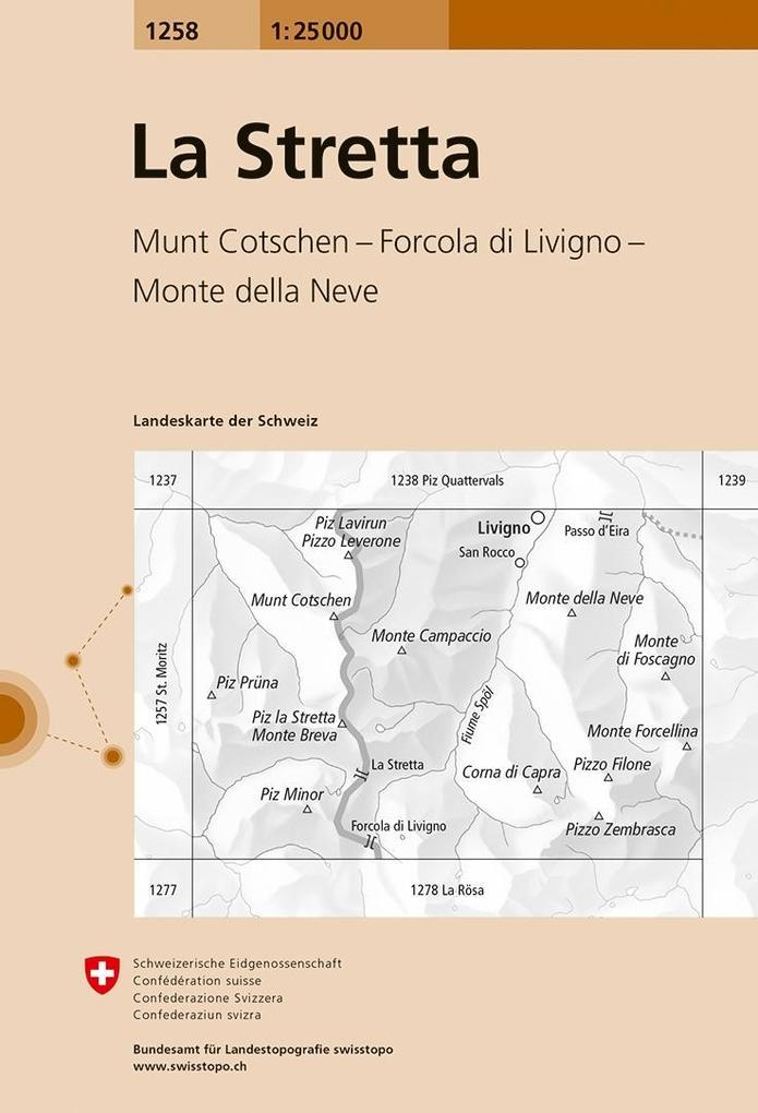 Swisstopo 1 : 25 000 La Stretta als Buch