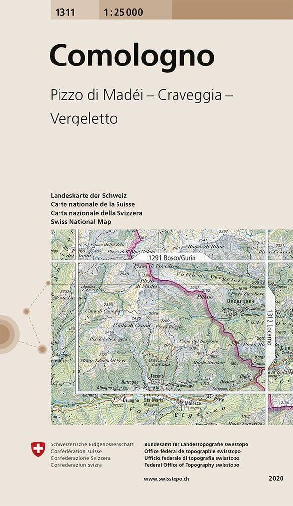 Swisstopo 1 : 25 000 Comologno als Buch