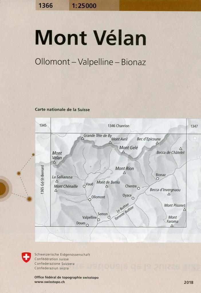 Swisstopo 1 : 25 000 Mont Vélan als Buch