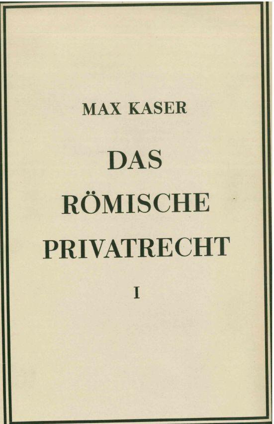 Das römische Privatrecht. Abschn.1 als Buch