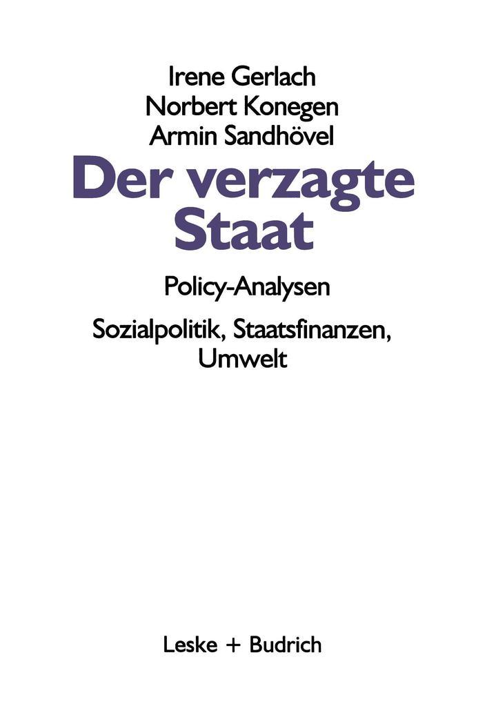 Der verzagte Staat - Policy-Analysen als Buch