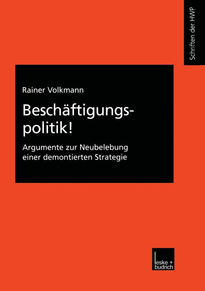 Beschäftigungspolitik! als Buch