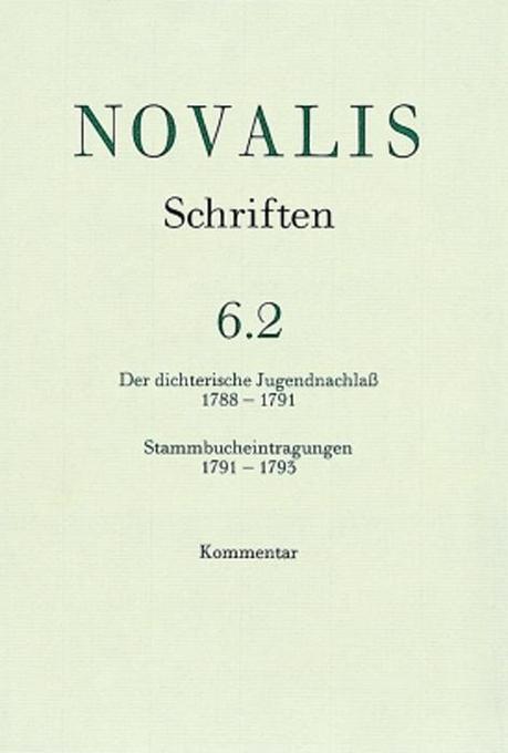 Der dichterische Jugendnachlaß (1788 - 1791) und Stammbucheintragungen (1791 - 1793 als Buch