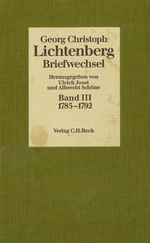 Lichtenberg Briefwechsel Bd. 3: 1785-1792 als Buch