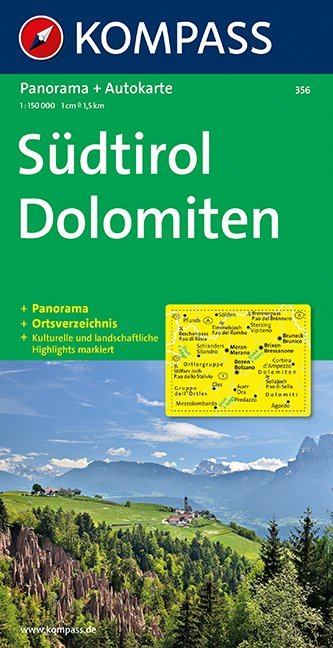 Südtirol Dolomiten 1 : 150 000. Autokarte mit Panorama als Buch