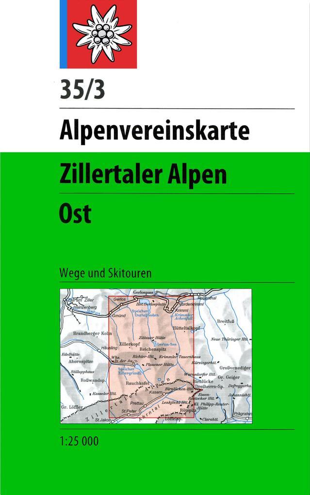 DAV Alpenvereinskarte 35/3 Zillertaler Alpen Ost 1 : 25 000 Wegmarkierung als Buch