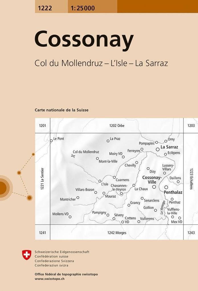 Swisstopo 1 : 25 000 Cossonay als Buch