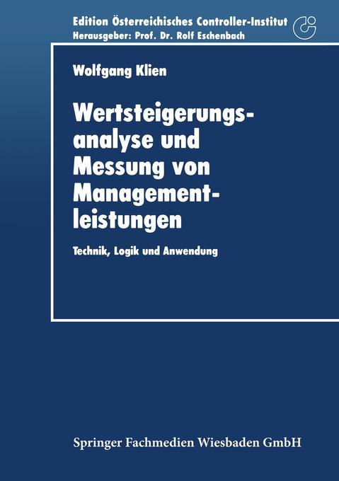 Wertsteigerungsanalyse und Messung von Managementleistungen als Buch