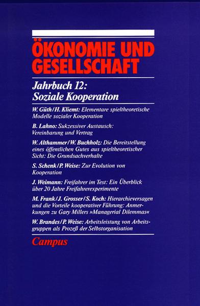 Jahrbuch Ökonomie und Gesellschaft 12. Soziale Kooperation als Buch