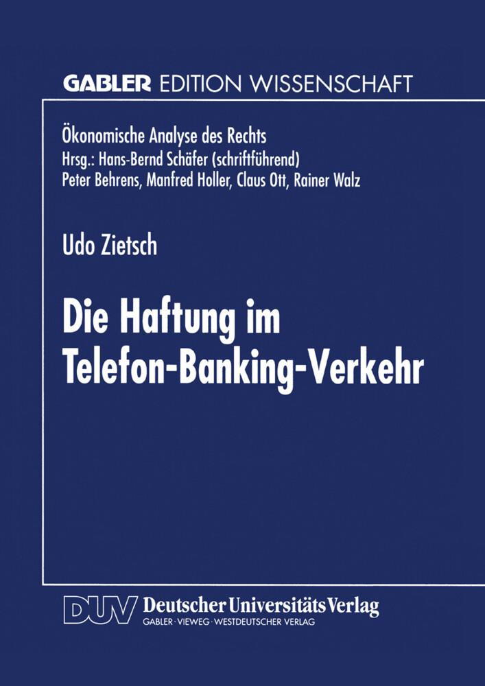 Die Haftung im Telefon-Banking-Verkehr als Buch