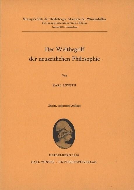 Der Weltbegriff der neuzeitlichen Philosophie als Buch