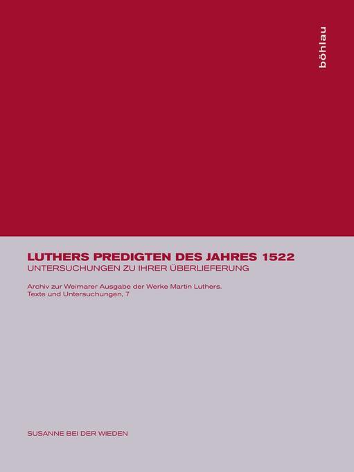 Luthers Predigten des Jahres 1522 als Buch
