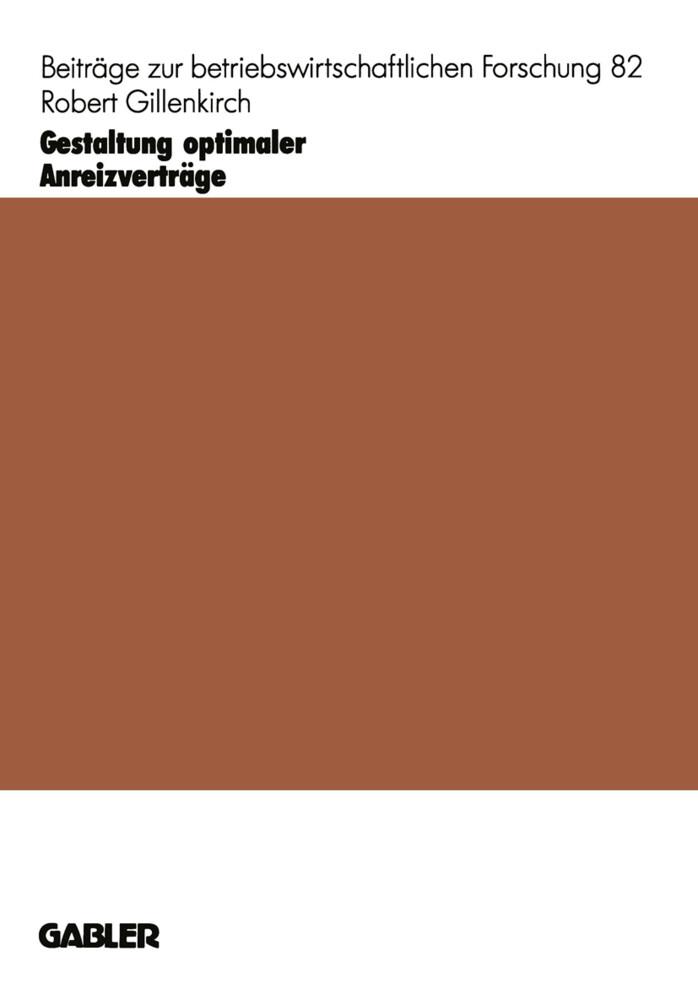 Gestaltung optimaler Anreizverträge als Buch