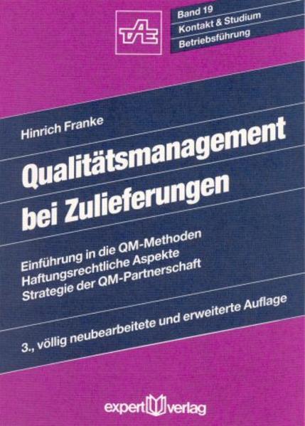 Qualitätsmanagement bei Zulieferungen als Buch