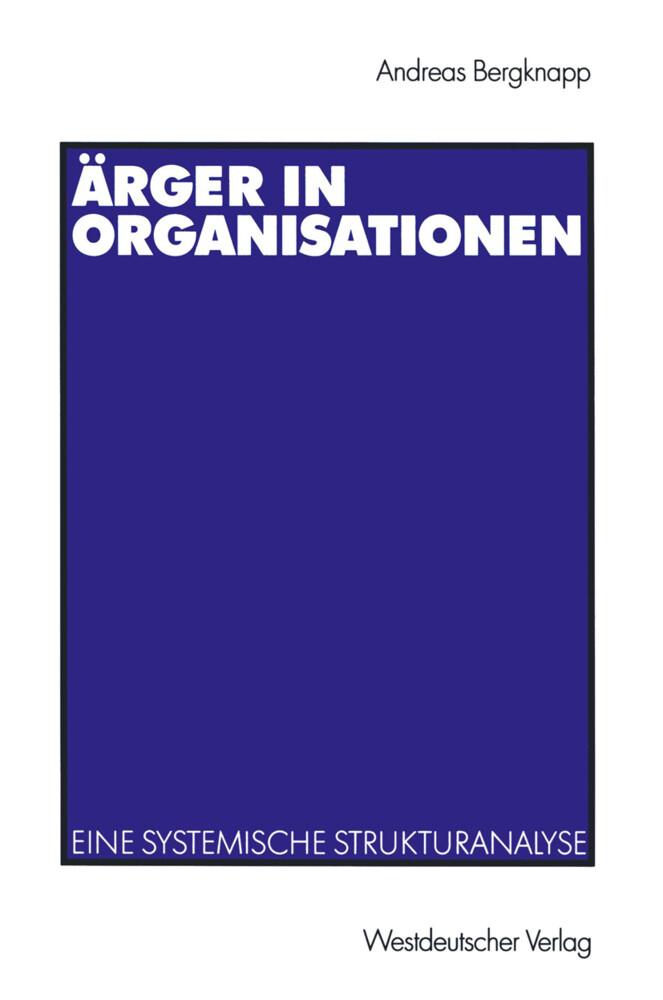 Ärger in Organisationen als Buch