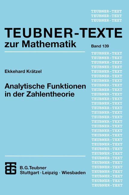 Analytische Funktionen in der Zahlentheorie als Buch