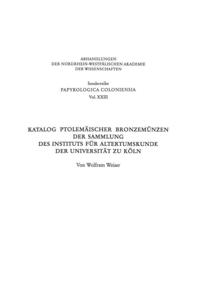 Katalog Ptolemäischer Bronzemünzen der Sammlung des Instituts für Altertumskunde der Universität zu Köln als Buch