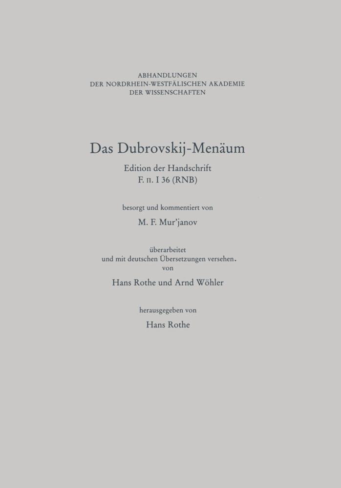 Das Dubrovskij-Menäum als Buch