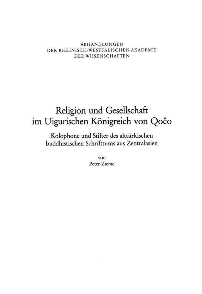 Religion und Gesellschaft im Uigurischen Königreich von Qoco als Buch