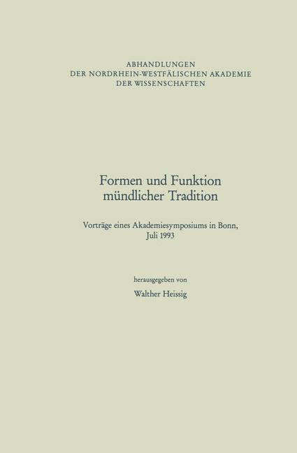 Formen und Funktion mündlicher Tradition als Buch