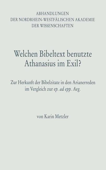 Welchen Bibeltext benutzte Athanasius im Exil? als Buch