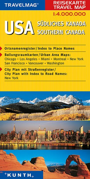 KUNTH Reisekarte USA - Südliches Kanada 1 : 4 000 000 als Buch