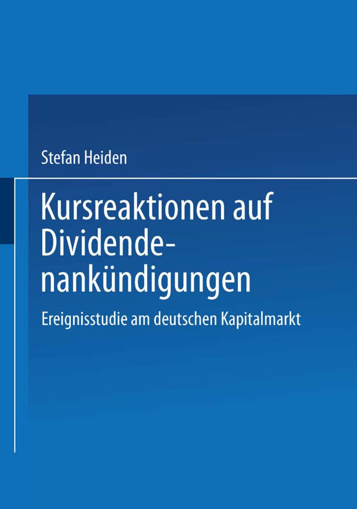 Kursreaktionen auf Dividendenankündigungen als Buch