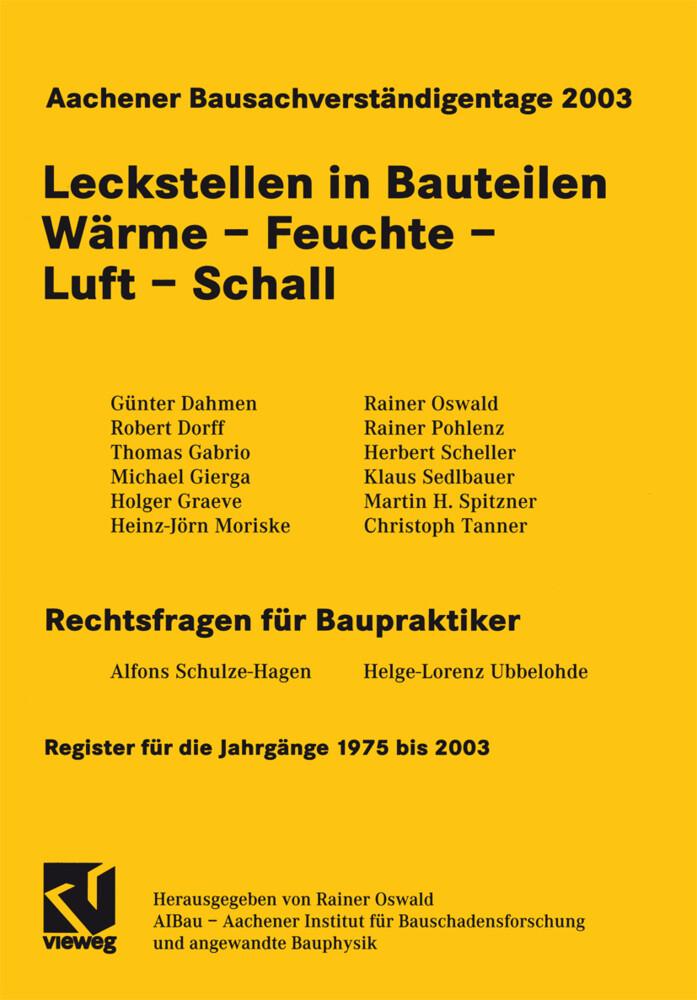 Aachener Bausachverständigentage 2003 als Buch