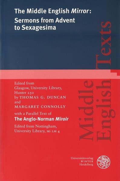 The Middle English 'Mirror': Sermons from Advent to Sexagesima als Buch