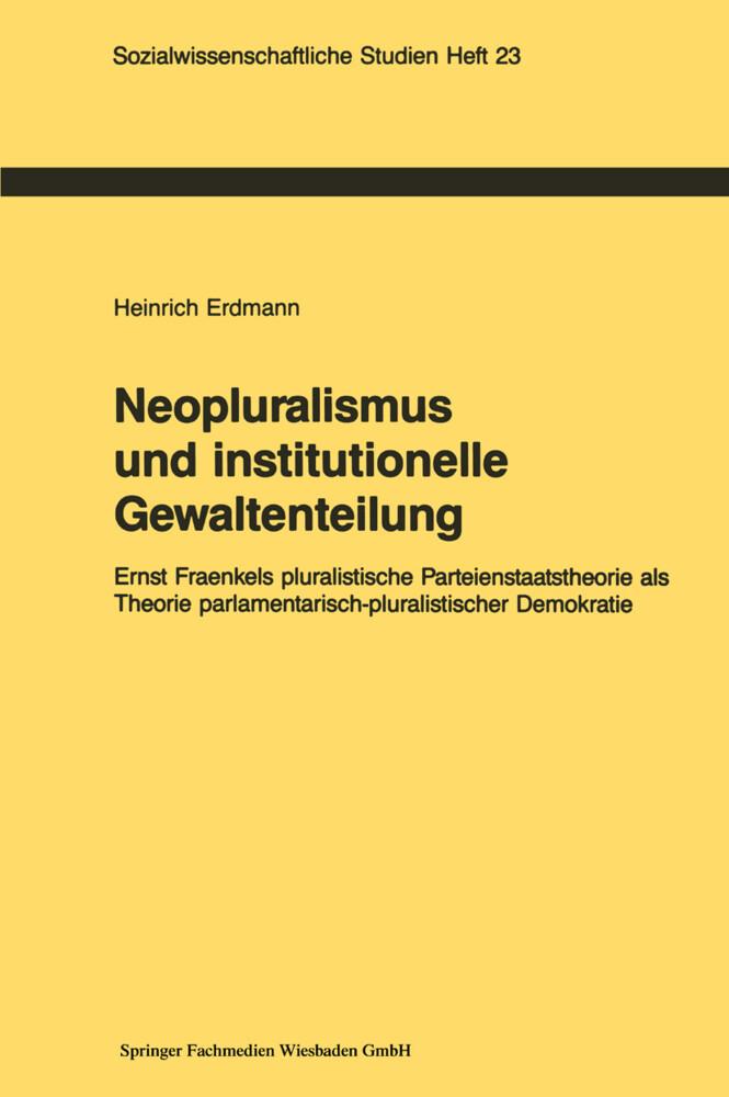 Neopluralismus und institutionelle Gewaltenteilung als Buch