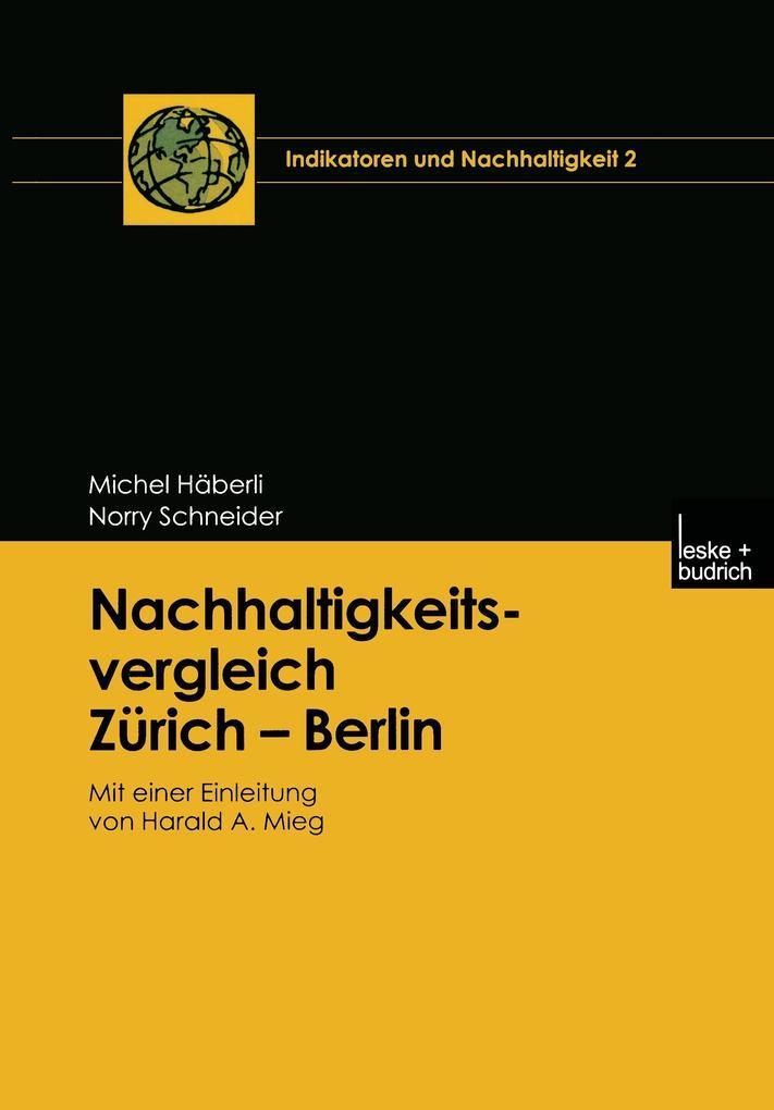 Nachhaltigkeitsvergleich Zürich - Berlin als Buch
