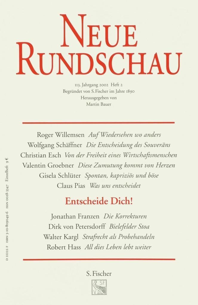 Neue Rundschau 2002/2 als Buch