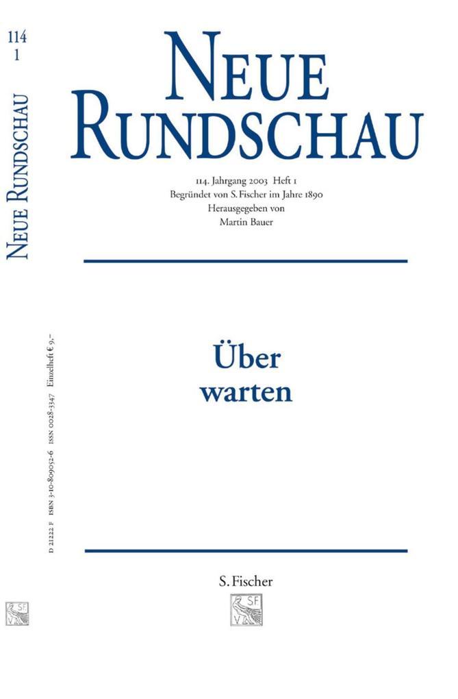 Neue Rundschau 2003/1 als Buch