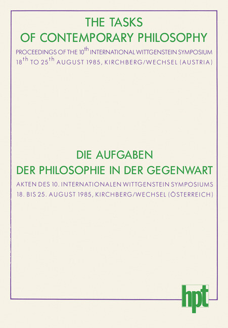 The Tasks of Contemporary Philosophy / Die Aufgaben der Philosophie in der Gegenwart als Buch