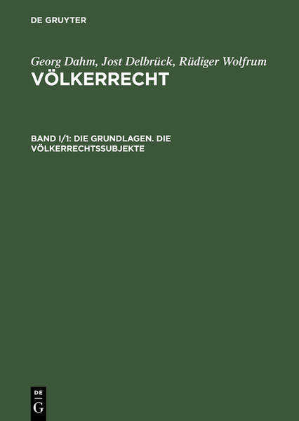 Die Grundlagen. Die Völkerrechtssubjekte als Buch