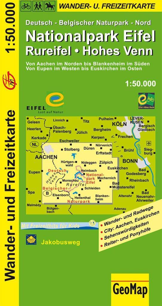 Nationalpark Eifel, Rureifel, Hohes Venn Wander- und Freizeitkarte 1 : 50 000 als Buch