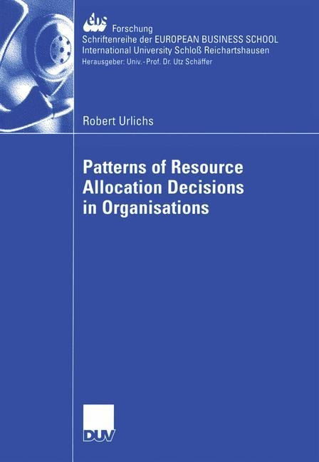 Patterns of Resource Allocation Decisions in Organisations als Buch