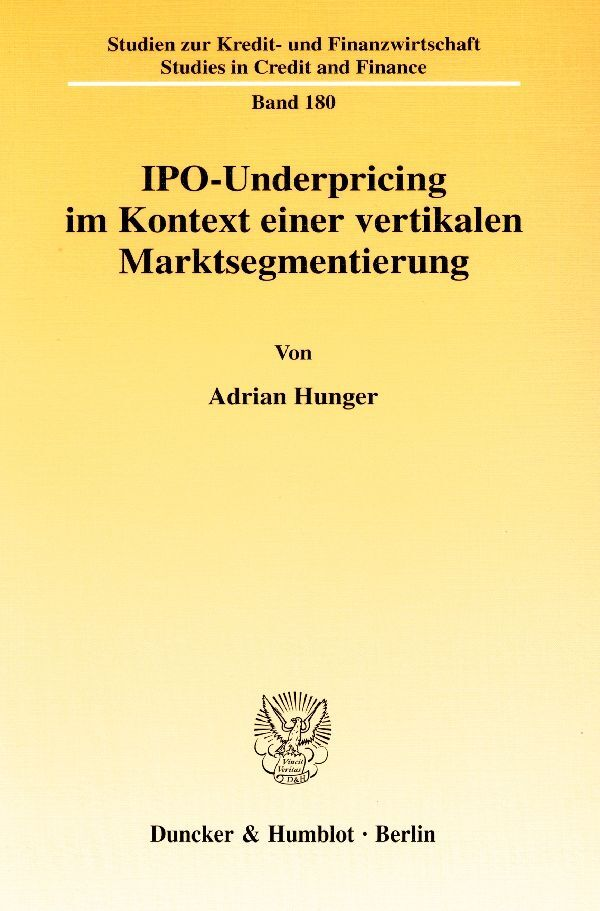IPO-Underpricing im Kontext einer vertikalen Marktsegmentierung als Buch