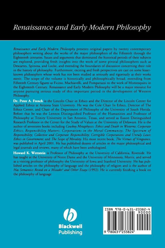 Renaissance Early Philosophy V26 als Taschenbuch
